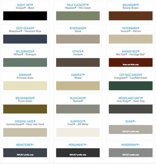 colormax colorbond colours