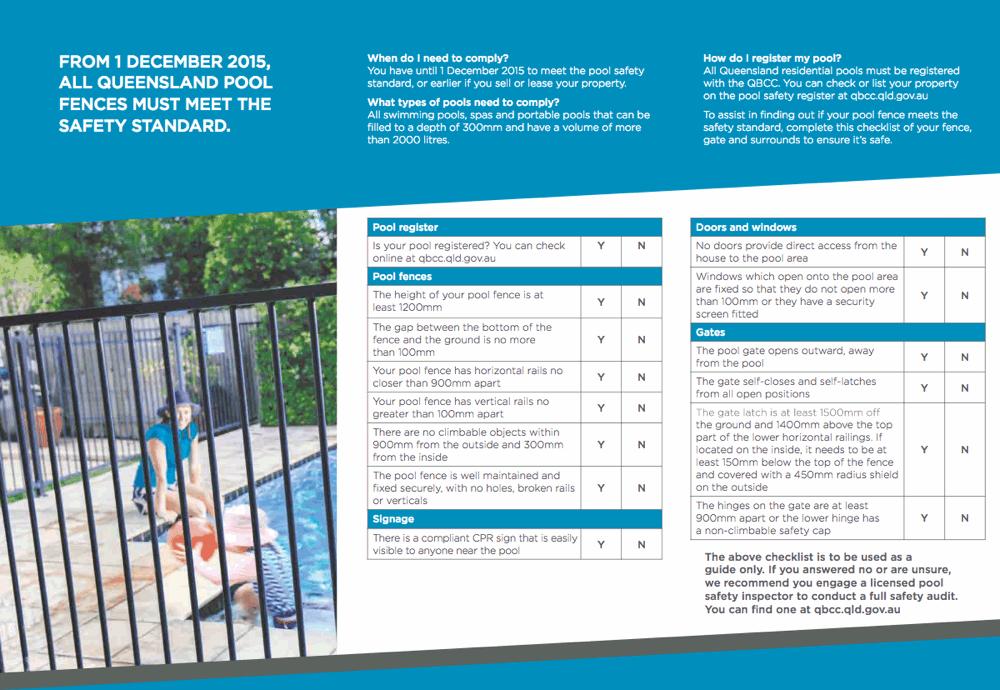 qbcc pool fencing safety checklist